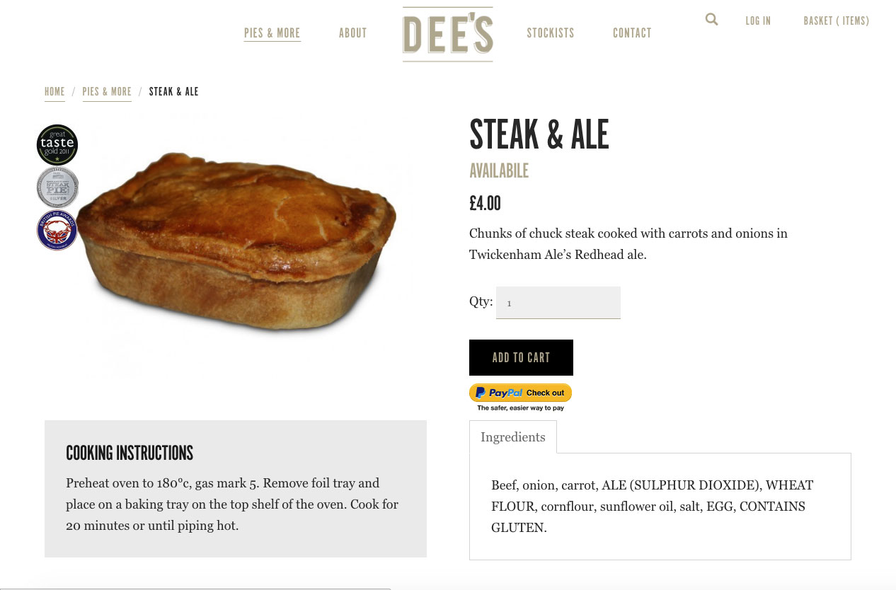 Dee's pies detail page