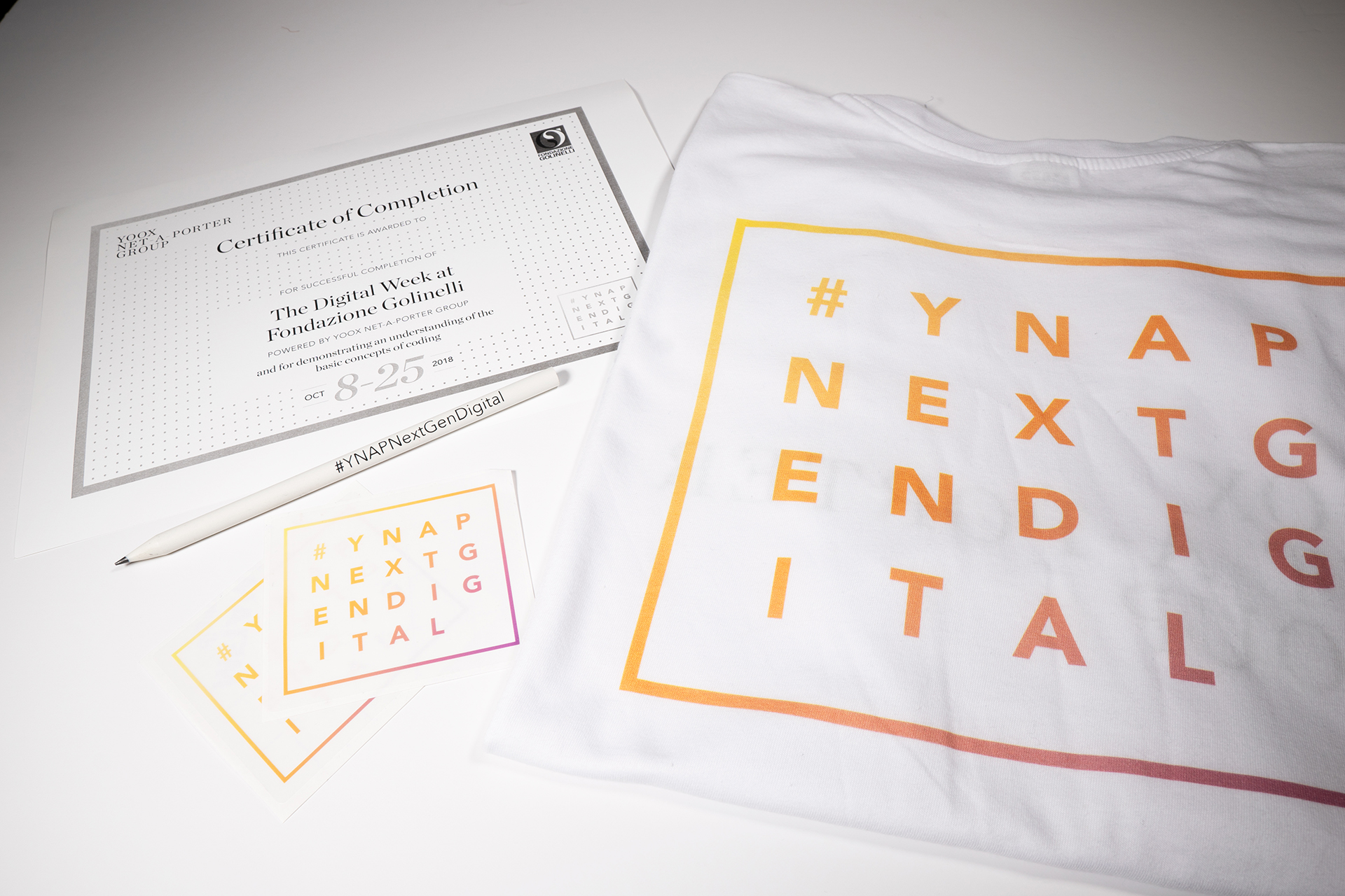 Branded t-Shirt, stickers, pencil and certificate