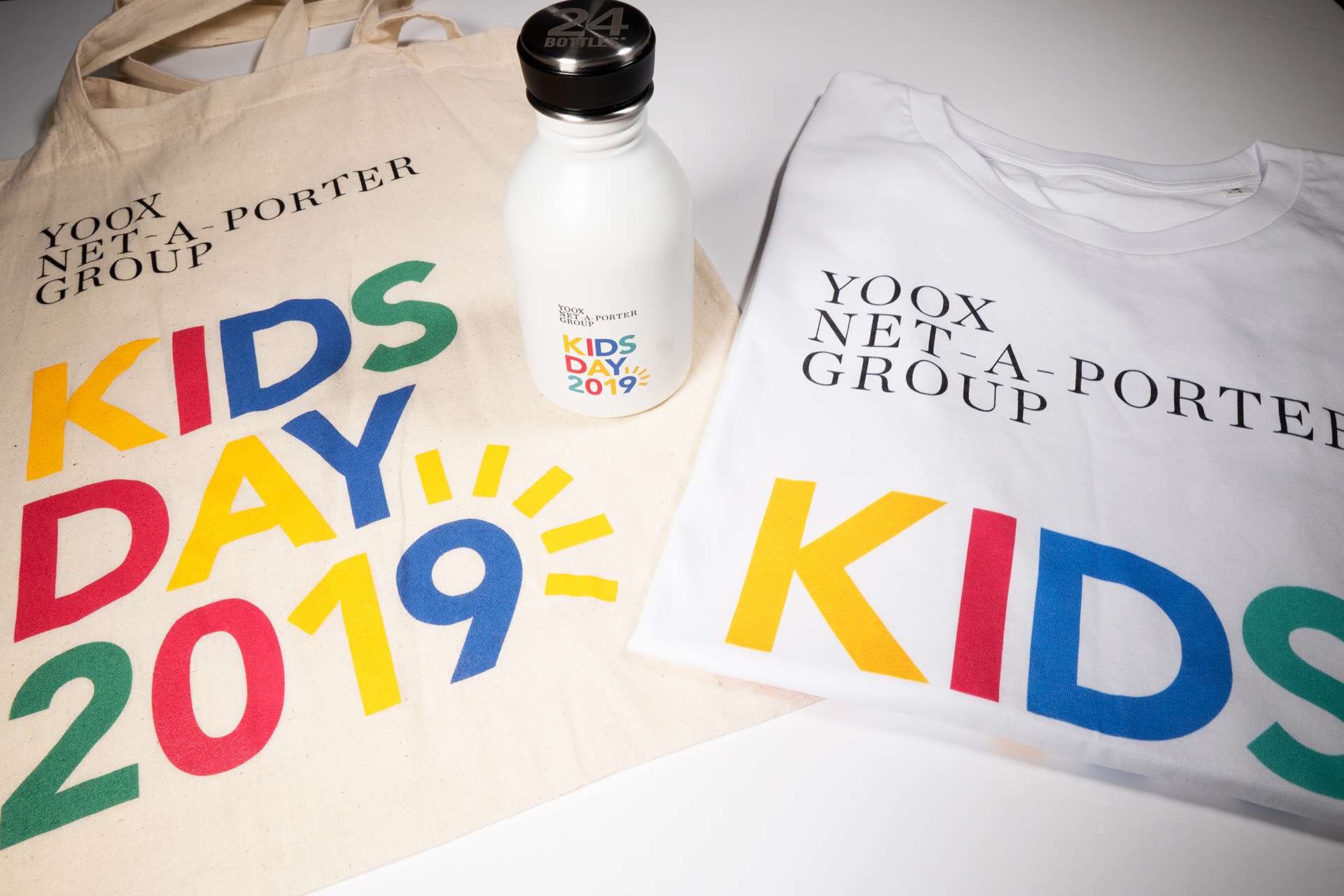 Branded t-shirt and reusable bottle for Kids Day 2019